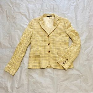 Theory Plaid Yellow and Tan Button Up Blazer